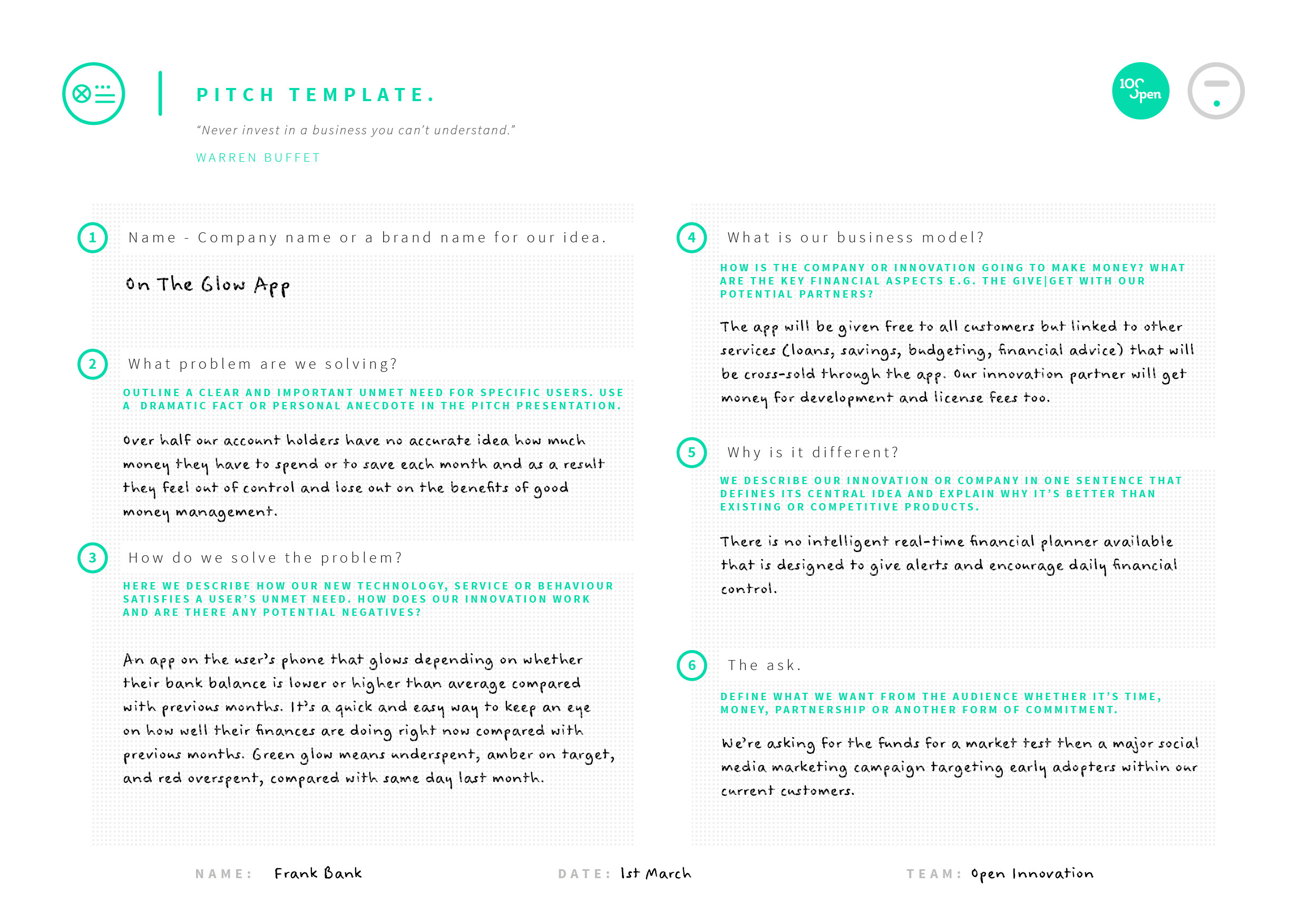 Pitch template 100open view tool example wajeb